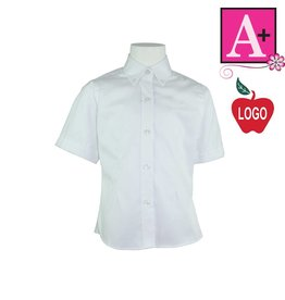 School Apparel A+ White Short Sleeve Pinpoint Oxford Blouse #9583