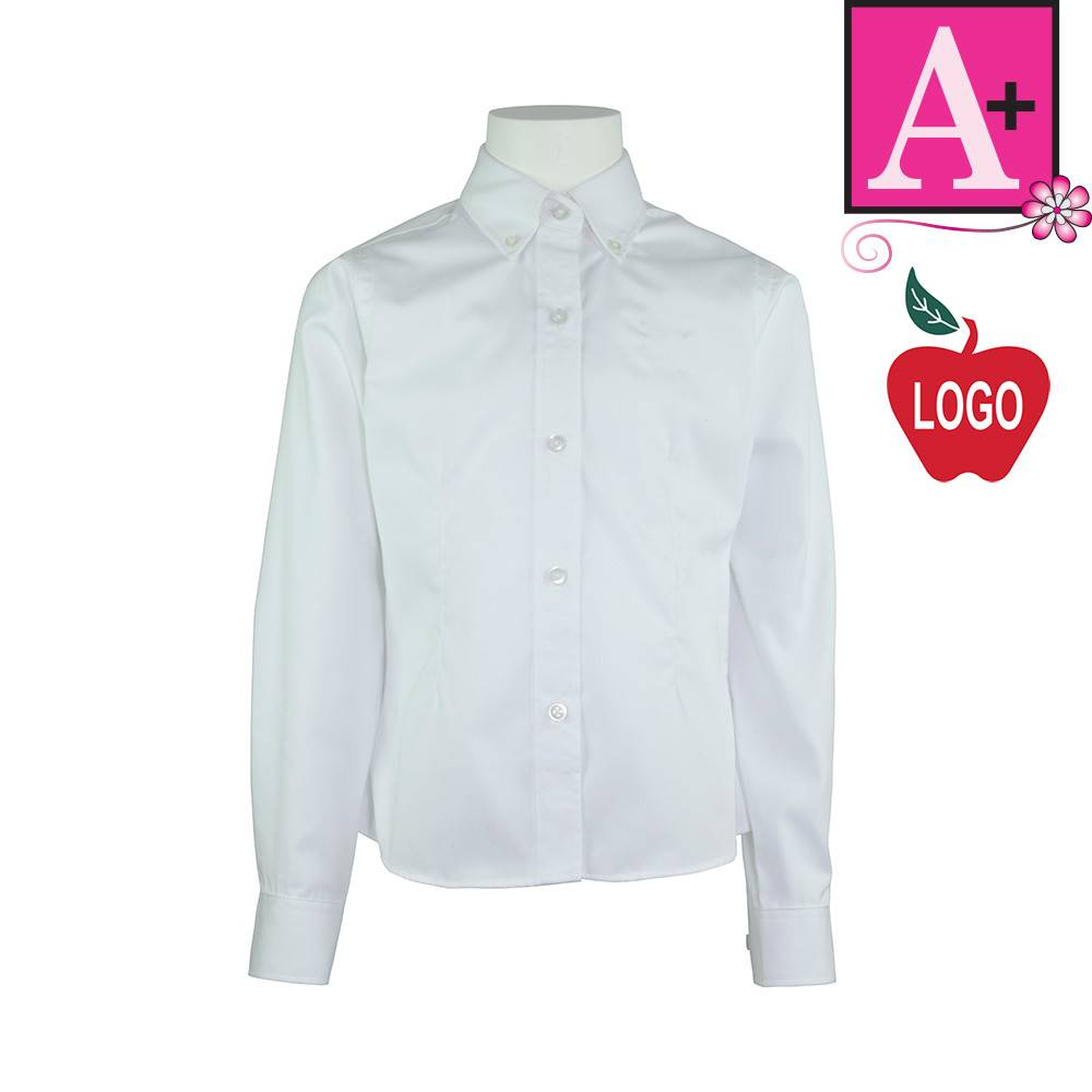 School Apparel A+ White Long Sleeve Oxford Blouse #9587 - Merry ...
