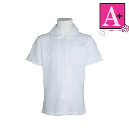School Apparel A+ White Jersey Knit Peter Pan Blouse #8360