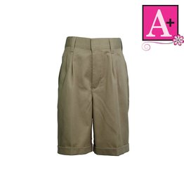 School Apparel A+ Khaki Pleated Walk Shorts #7308