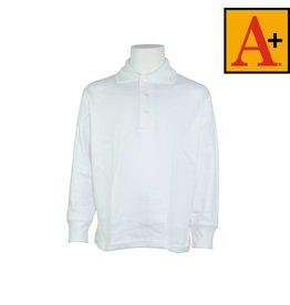 School Apparel A+ White Long Sleeve Interlock Polo #8434