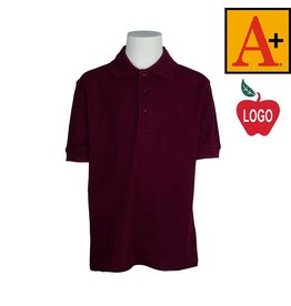 School Apparel A+ Wine Short Sleeve Pique Polo #8761