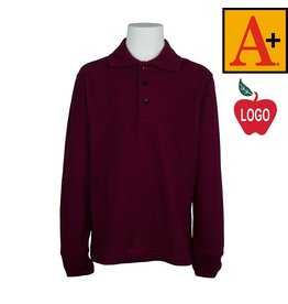 School Apparel A+ Wine Long Sleeve Pique Polo #8766