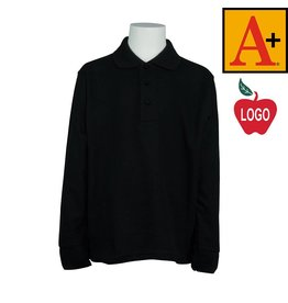 School Apparel A+ Black Long Sleeve Pique Polo #8766