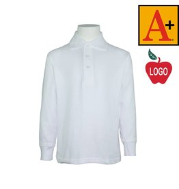 School Apparel A+ White Long Sleeve Pique Polo #8766