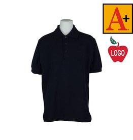 School Apparel A+ Navy Blue Short Sleeve Pique Polo #8761