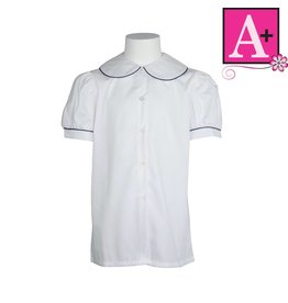 School Apparel A+ White Short Sleeve Peter Pan Blouse with Navy Piping #9361
