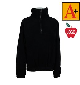 School Apparel A+ Black Half Zip Fleece Jacket #6235