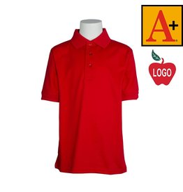 School Apparel A+ Red Short Sleeve Jersey Polo #8320