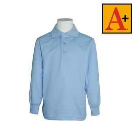 School Apparel A+ Light Blue Long Sleeve Jersey Polo #8326
