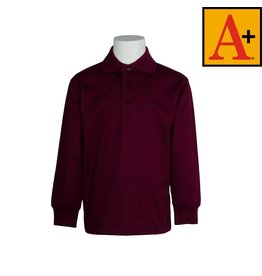 School Apparel A+ Wine Long Sleeve Jersey Polo #8326