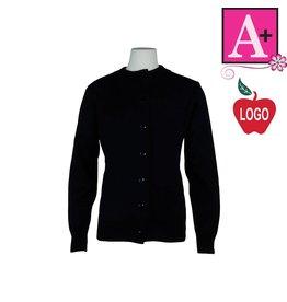 School Apparel A+ Navy Blue Fine Gauge Cardigan Sweater #6430