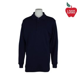 Elder Navy Blue Long Sleeve Interlock Polo #5671