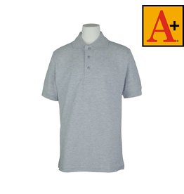 School Apparel A+ Ash Grey Short Sleeve Pique Polo #8761