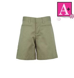 School Apparel A+ Khaki Plain Front Walk Shorts #7362
