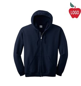 Gildan Navy Blue Full Zip Hood Sweatshirt #18600