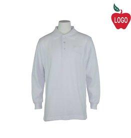 Universal White Long Sleeve Pique Polo #U840