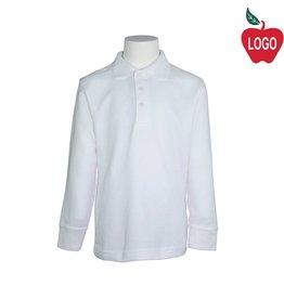 Tulane White Long Sleeve Pique Polo #8748