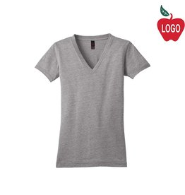 District Threads Grey Heather V-Neck Short Sleeve Tee #DT242V