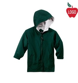 Port Authority Green Hooded Nylon Jacket #JP56