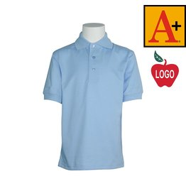School Apparel A+ Light Blue Short Sleeve Interlock Polo #8320