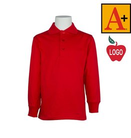 School Apparel A+ Red Long Sleeve Jersey Polo #8326