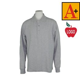 School Apparel A+ Grey Long Sleeve Pique Polo #8766