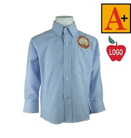 School Apparel A+ Light Blue Long Sleeve Oxford Shirt #8066