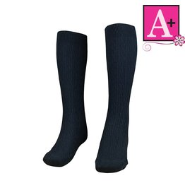 School Apparel A+ Navy Cotton Cable Sock #127