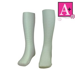 School Apparel A+ White Cotton Cable Sock #127
