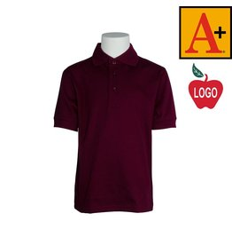 School Apparel A+ Wine Short Sleeve Interlock Polo #8320