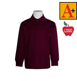 School Apparel A+ Wine Long Sleeve Interlock Polo #8326