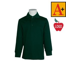 School Apparel A+ Green Long Sleeve Interlock Polo #83226