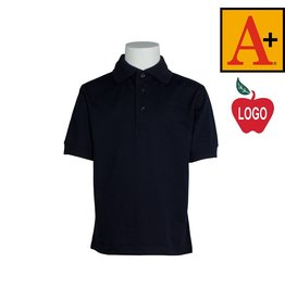 School Apparel A+ Dark Navy Blue Short Sleeve Interlock Polo #8320
