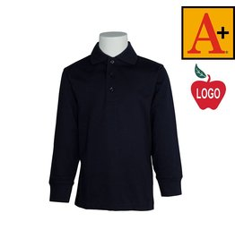 School Apparel A+ Dark Navy Blue Long Sleeve Interlock Polo #8326