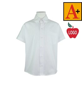 School Apparel A+ 8192 SS PINPOINT OXFORD SHIRT; TIMOTHY; WHITE;