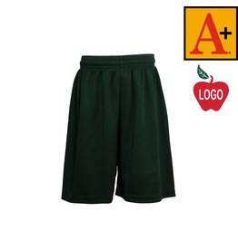 School Apparel A+ Green P.E. Mesh Short #6212