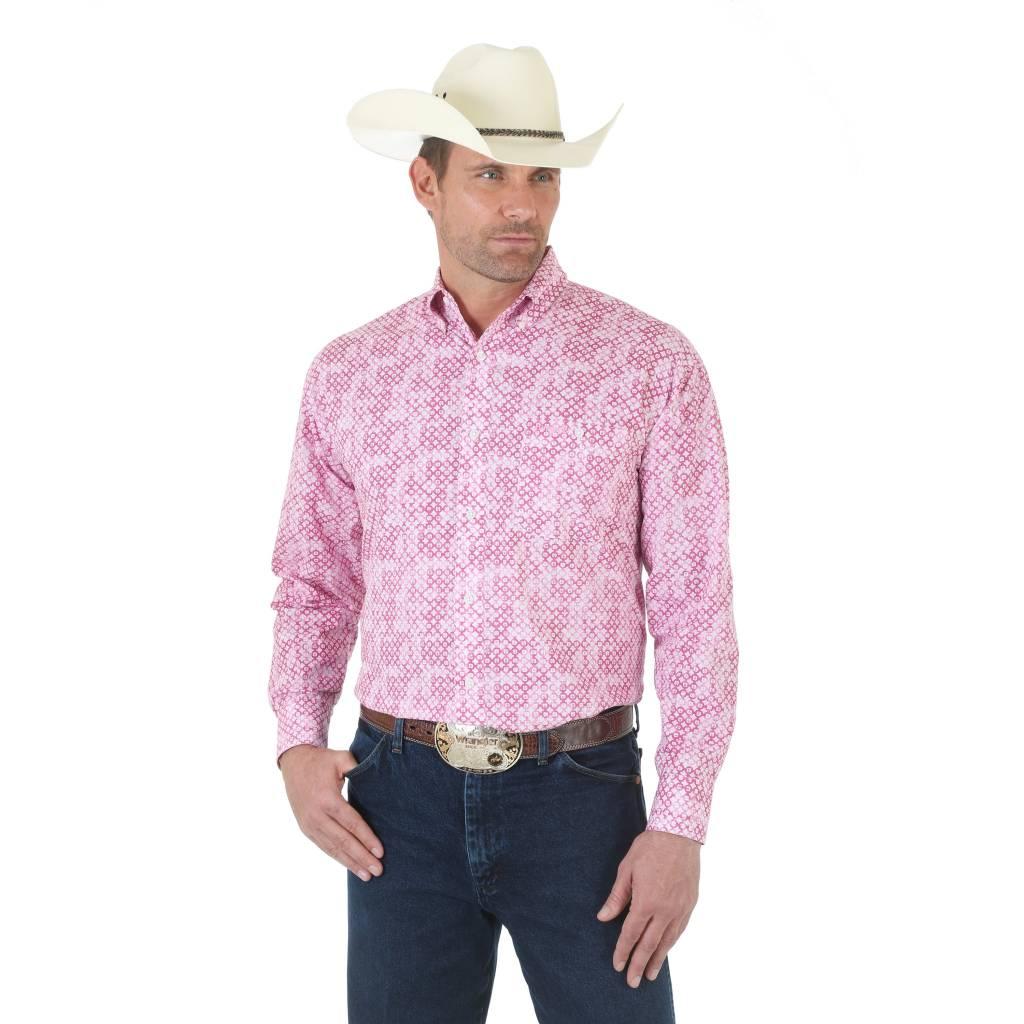Wrangler Men S Wrangler Tough Enough To Wear Pink Long Sleeve Shirt
