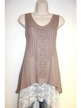 Vocal VOCAL BROWN TANK/LACE UNDER 14703T