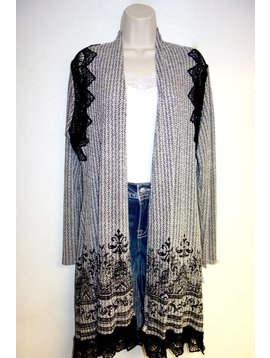 Vocal VOCAL BLK/WHITE CARDIGAN 13708C