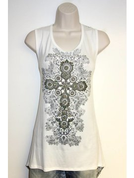 Vocal VOCAL WHITE TNK CROSS CENTER LACE BACK 10569T