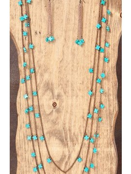 West & Co. WEST & COMPANY 3 STRAND BURNISHED TURQUOISE SPARKLE NECKLACE SET N1027BG