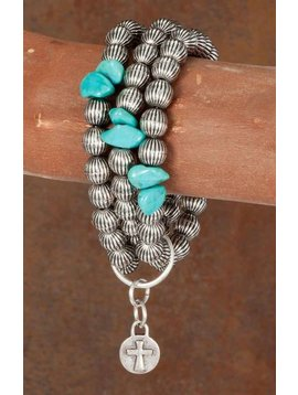 West & Co. WEST & COMPANY 3 STRAND BURNISHED SILVER MELON BEAD TURQ ACCENT BR526