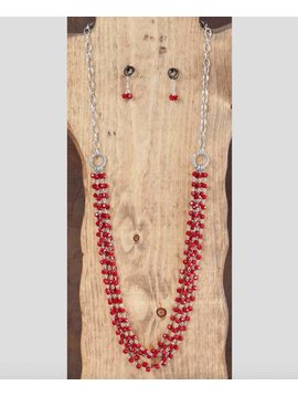 West & Co. WEST & COMPANY 36'' MULTI STRAND RED CRYSTAL NECK SET N974RED