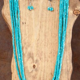 """West & Co. WEST & COMPANY 5 STRAND 34"""" TQ SQUARE BEADED NECK SET N969"""