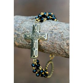 West & Co. WEST & COMPANY BLACK CRYST & GOLD TRIBAL CROSS BRACELET BR999BLK