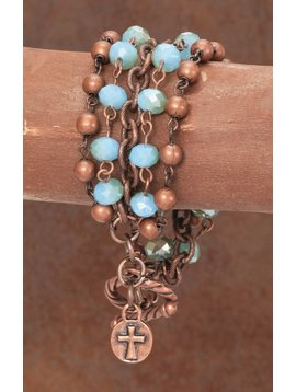 West & Co. WEST & CO. BURNISHED COPPER BEADS W/CHAIN AND TURQ BRACELET BR1090TQ