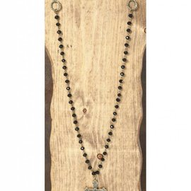 West & Co. WEST & CO. BLACK CHAIN NECKLACE W/BURNISHED GOLD CROSS N956BLK