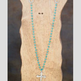 West & Co. WEST & CO. TQ CHAIN NECKLACE W/BURNISHED SILVER CROSS N956TQ