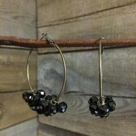 West & Co. WEST & CO. BURNISHED GOLD WITH BLACK CRYS HOOP EARRING E408